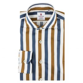 CORDONE 1956 Blue and Gold Striped Cotton Limited Edition Shirt