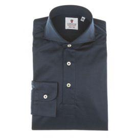 CORDONE 1956 Blue Navy Cotton Jersey Polo Shirt