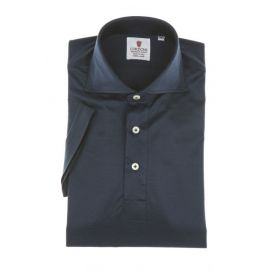 CORDONE 1956 Blue Navy Cotton Jersey Short-Sleeve Polo Shirt