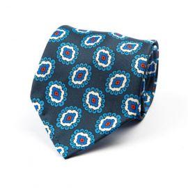 CORDONE 1956 Blue with Light Blue Pattern 3 Fold Unlined Silk Tie