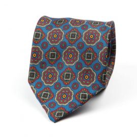 CORDONE 1956 Blue with Red and Green Pattern 7 Fold Unlined Silk Tie