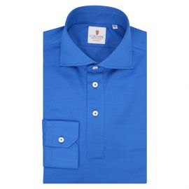 CORDONE 1956 Bluette Cotton Long Sleeve Polo Shirt