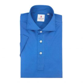 CORDONE 1956 Bluette Cotton Short Sleeve Polo Shirt