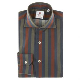 CORDONE 1956 Bordeaux, Blue and Grey Striped Cotton Limited Edition Shirt