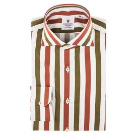 CORDONE 1956 Brick Red and Green Striped Cotton Limited Edition Shirt