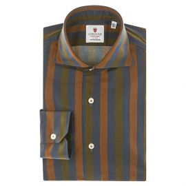 CORDONE 1956 Brown, Blue and Green Striped Cotton Limited Edition Shirt
