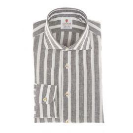 CORDONE 1956 Brown Broad Stripes Linen Shirt