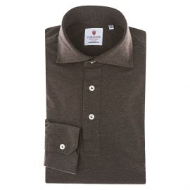 CORDONE 1956 Brown Jersey Polo Shirt