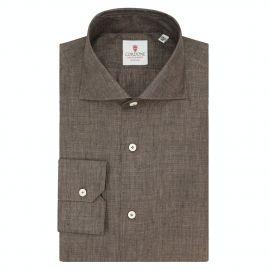 CORDONE 1956 Brown Linen Shirt