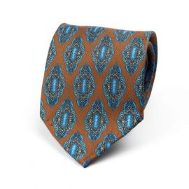 CORDONE 1956 Brown with Light Blue Pattern 7 Fold Unlined Silk Tie
