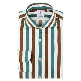 CORDONE 1956 Green and Brown Striped Cotton Limited Edition Shirt