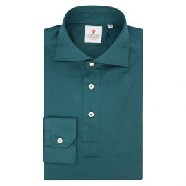 CORDONE 1956 Green Cotton Long Sleeve Polo Shirt