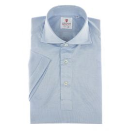 CORDONE 1956 Light Azure Cotton Jersey Short-Sleeve Polo Shirt