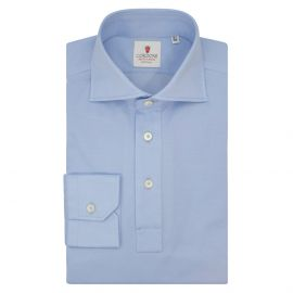 CORDONE 1956 Light Azure Cotton Long Sleeve Polo Shirt