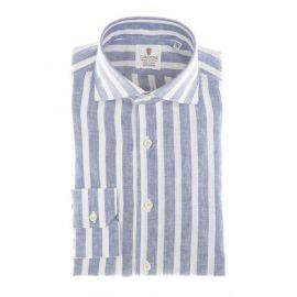 CORDONE 1956 Light Blue Broad Stripes Linen Shirt