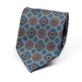 CORDONE 1956 Light Blue with Brown Pattern 7 Fold Unlined Silk Tie