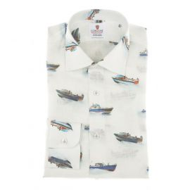 CORDONE 1956 Melbourne Boats Printed Linen Limited Edition Shirt
