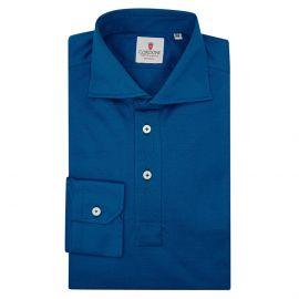 CORDONE 1956 Navy Cotton Long Sleeve Polo Shirt