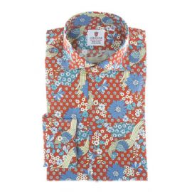 CORDONE 1956 Positano Red Multicolor Printed Cotton Limited Edition Shirt