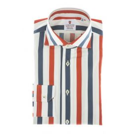CORDONE 1956 Red and Blue Striped Cotton Limited Edition Shirt