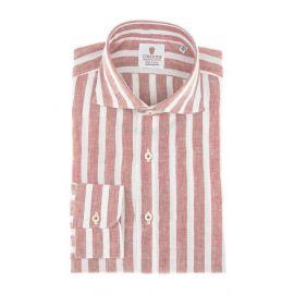 CORDONE 1956 Red Broad Stripes Linen Shirt