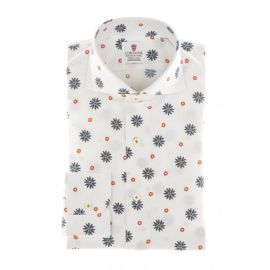CORDONE 1956 Red Floral Printed Seersucker Cotton Limited Edition Shirt