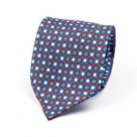 CORDONE 1956 Red, Light Blue and White Pattern 7 Fold Unlined Silk Tie