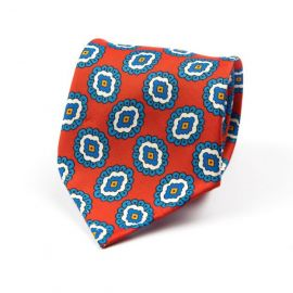 CORDONE 1956 Red with Light Blue Pattern 3 Fold Unlined Silk Tie