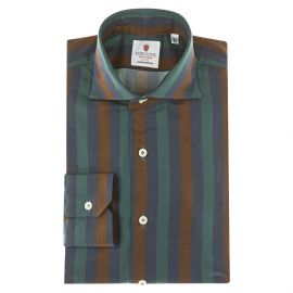 CORDONE 1956 Rust, Blue and Green Striped Cotton Limited Edition Shirt