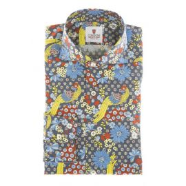 CORDONE 1956 Santorini Blue Multicolor Printed Cotton Limited Edition Shirt
