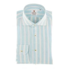 CORDONE 1956 Turquoise Broad Stripes Linen Shirt