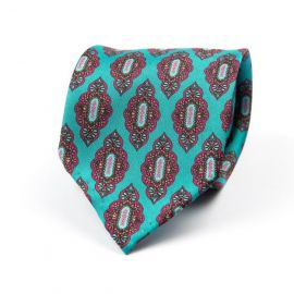 CORDONE 1956 Turquoise with Pink Pattern 7 Fold Unlined Silk Tie
