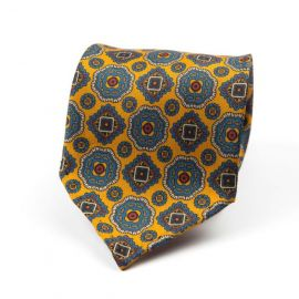 CORDONE 1956 Yellow with Light Blue Pattern 7 Fold Unlined Silk Tie