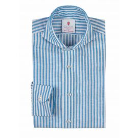 CANNES White with Azure Stripes Linen Polo Shirt