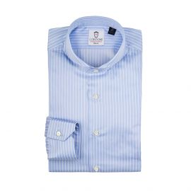 CORDONE 1956 LORD BYRON 305-2 Azure with White Stripes Cotton Shirt
