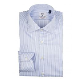 CORDONE 1956 LORD BYRON 304-2 White with Azure Stripes Cotton Shirt