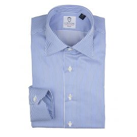 CORDONE 1956 LORD BYRON 304-3 White with Blue Stripes Cotton Shirt