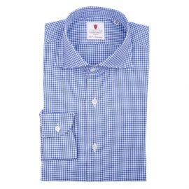 ROYAL Azure & White Checkered Twill Cotton Shirt
