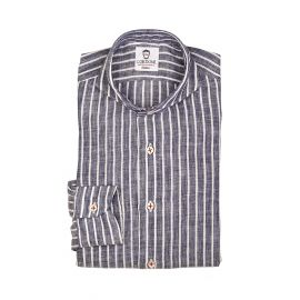 LINEN STRIPES White and Blue Shirt