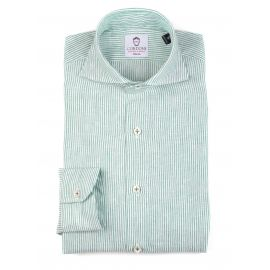 LINEN STRIPES White and Green Shirt