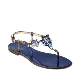 DEEP BLUE with Multicolor Crystals Embellished Sandals