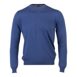 LIMITED EDITION Blue Cotton Round-Neck Sweater