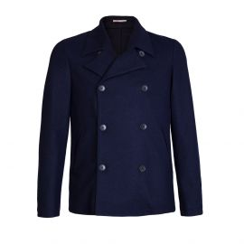 Navy Blue Wool&Cashmere Double-Breasted Peacoat