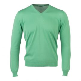 LIMITED EDITION Green Cotton V-Neck Sweater