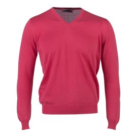 LIMITED EDITION Red Cotton V-Neck Sweater
