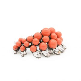 COLETTE Ruthenium Plated Bracelet with white crystals and coral pearls