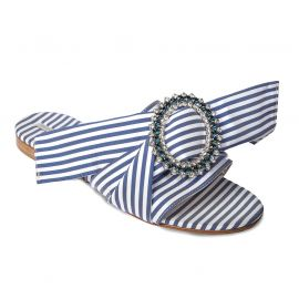 EMANUELA CARUSO BLUE/WHITE Fabric Sandals