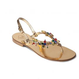 EMANUELA CARUSO GOLD Mirror Leather Sandals