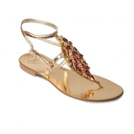EMANUELA CARUSO GOLD/RED Mirror Lamineted Leather Sandals