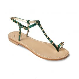 EMANUELA CARUSO GREEN Mirror Leather Sandals